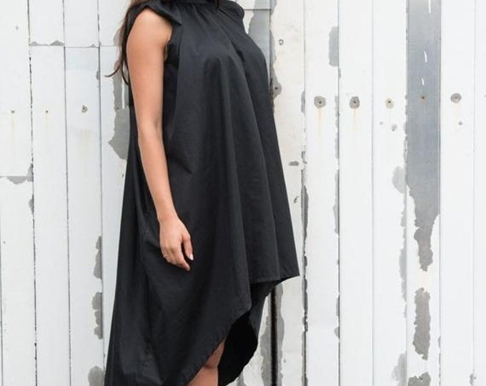 SALE Asymmetrical Maxi Black Dress / Sleeveless Casual Short Dress / Loose Black Tunic Top by METAMORPHOZA