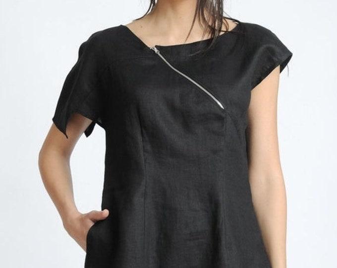 SALE NEW Black Short Sleeve Tunic/Asymmetric Linen Top/Extravagant Casual Shirt/Black Summer Blouse/Hidden Zipper Tunic Top/Black Everyday T