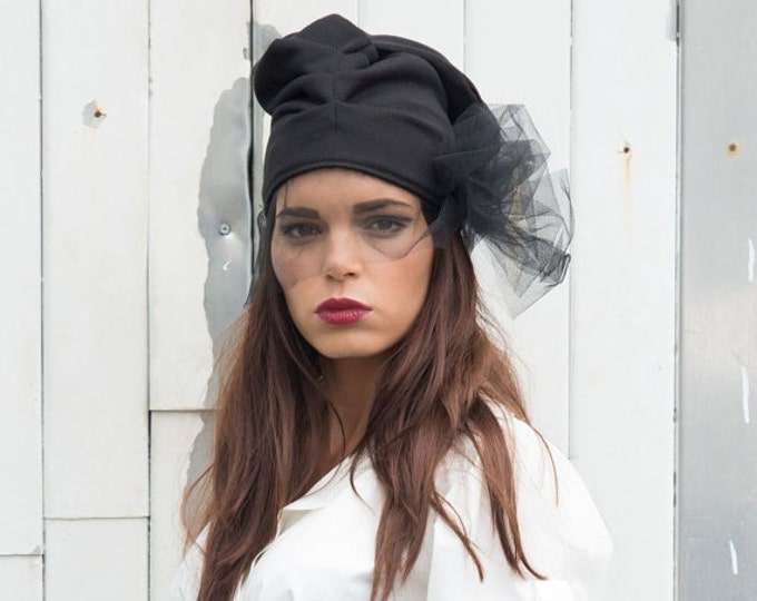 Black Beanie / Black Hat / Draped Hat / Hat with Veil / Fashionable Accessory / Extravagant Urban Style Hat / Black Slouchy Beanie