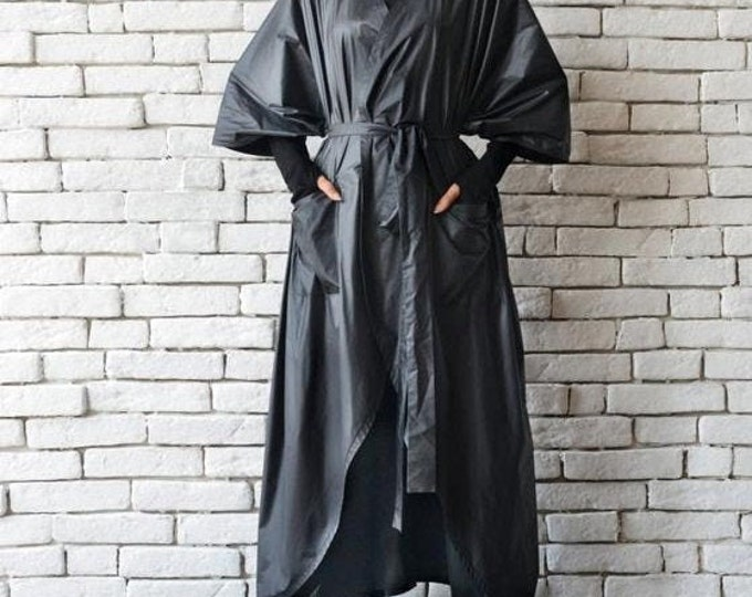SALE Black Loose Casual Jacket/Oversize Rain Coat/Extravagant Black Robe/Black Maxi Dress Jacket/Long Black Cardigan/Short Sleeve Jacket