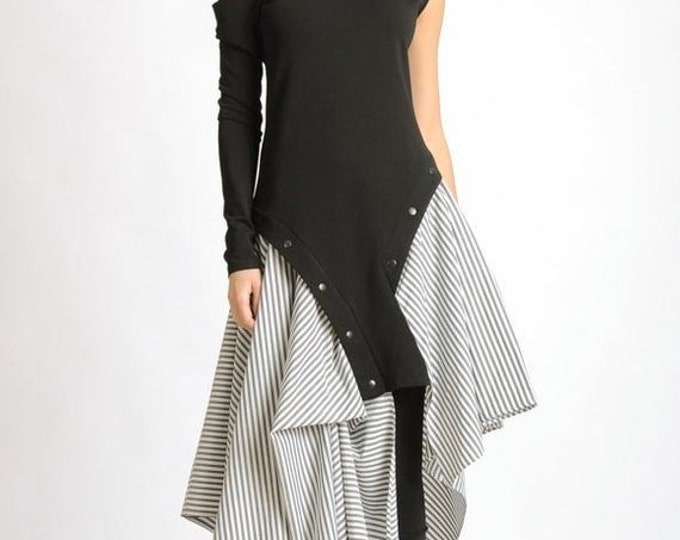 SALE NEW Extravagant Stripe Dress/Asymmetric Tunic Dress/Studded Black Dress/One Long Sleeve Dress/Naked Shoulder Dress/Loose Eccentric Dres
