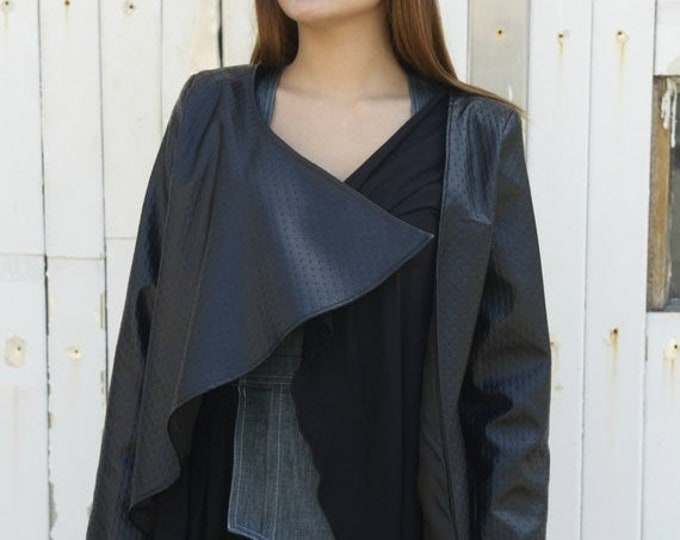 SALE Black Leather Jacket / Asymmetrical Loose Top / Black Oversize Tunic Top / Leather Coat / Plus Size Jacket / Lether Top by METAMORPHOZA
