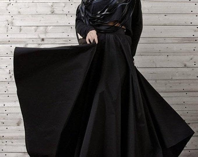 SALE Long Black Maxi Skirt / Statement Loose Floor Length Skirt / Oversize High Waisted Fashion Skirt/ Formal Black Skirt / Black Elegant Sk