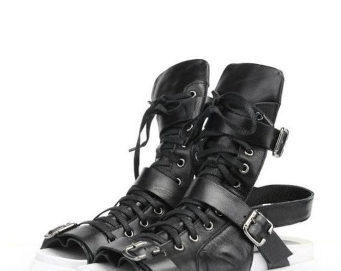 SALE NEW Genuine Leather Sandals/White Sole Shoes/Extravagant Cut Out Flats/Black Leather Summer Shoes/Comfy Platform Flats/Thick Sole Sanda