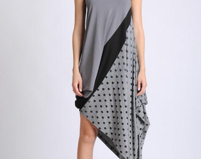 NEW Extravagant Asymmetric Dress/Dotted Material Dress/Dress with Dots/Grey Sleeveless Dress/Loose Summer Dress/Oversize Tunic Dress