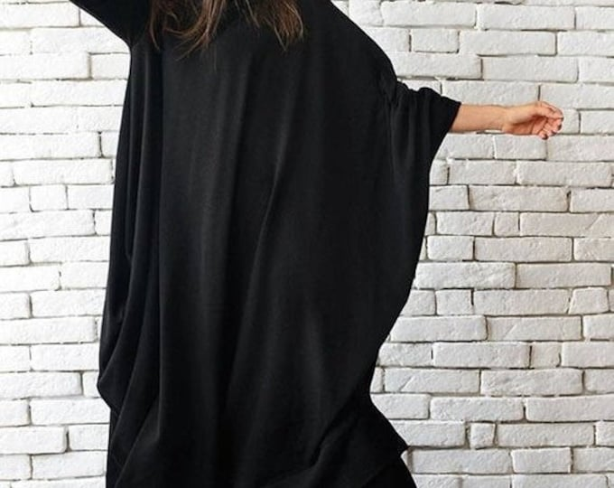 SALE Maxi Black Dress / Black Kaftan Dress / Extravagant Plus Size Dress / Comfortable Everyday Dress / Long Loose Tunic by METAMORPHOZA