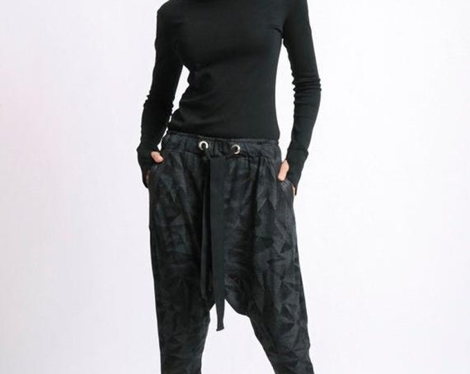 SALE Black Maxi Pants/Loose Long Pants/Extravagant Pattern Drop Crotch Pants/Plus Size Trousers/Everyday Casual Pants/Black Gypsy Suede Pant