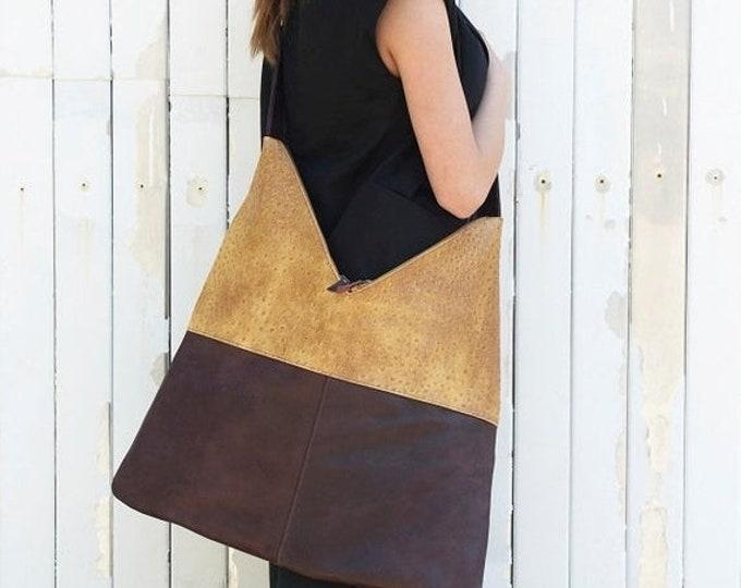 SALE Leather Bag / Large Woman Bag / Brown and Yellow Bag / Two-colored Bag / Adjustable Shoulder Strap / Tote Bag / Brown Leather Handbag