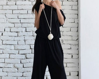 SALE Black Loose Jumpsuit/Long Leg Jumpsuit /Women Black Summer Jumpsuit/Long Spring Black Pants Suit/Oversize Black Jumpsuit/Fallen Sleeve