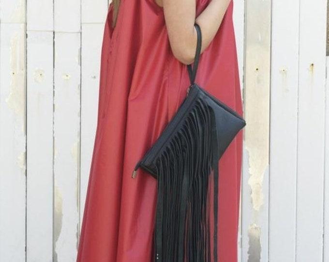 SALE Black bag / Black party bag / Real Leather Clutch / Fringed Clutch / Black Bag / Leather tote / Casual Bag