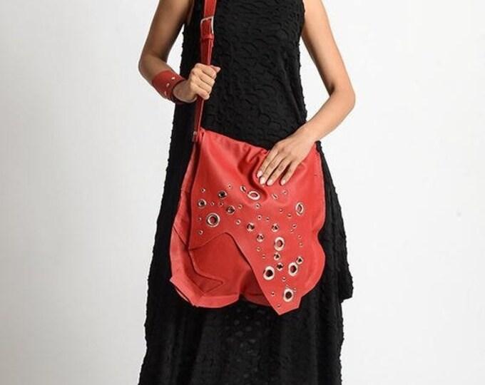 SALE Red Genuine Leather Bag/Extravagant Studded Bag/Red Leather Shoulder Bag/Handmade Tote/Everyday Handbag/One Strap Bag/Red Casual Bag