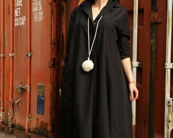 SALE Black Maxi Dress/Long Sleeve Dress/Black Tunic Dress/Oversize Shirt/Plus Size Maxi Dress/Extravagant Shirt Dress/Black Plus Size Maxi D