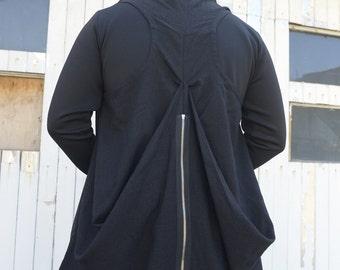 Long Men Vest / Zipper Vest / Black Vest / Extravagant Men Top / Draped Vest by METAMORPHOZA