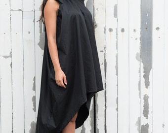 Asymmetrical Maxi Black Dress / Sleeveless Casual Short Dress / Loose Black Tunic Top by METAMORPHOZA