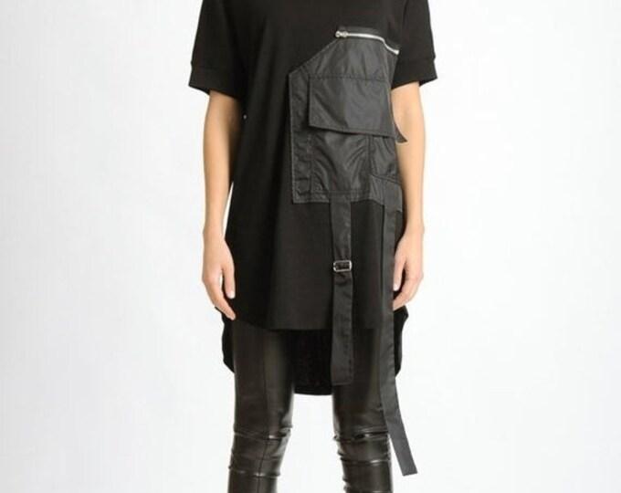 SALE NEW Extravagant Black Tunic/Front Pocket Loose Shirt/Black Short Sleeve Casual Top/Black Asymmetric Tunic/Extravagant Oversize Loose To