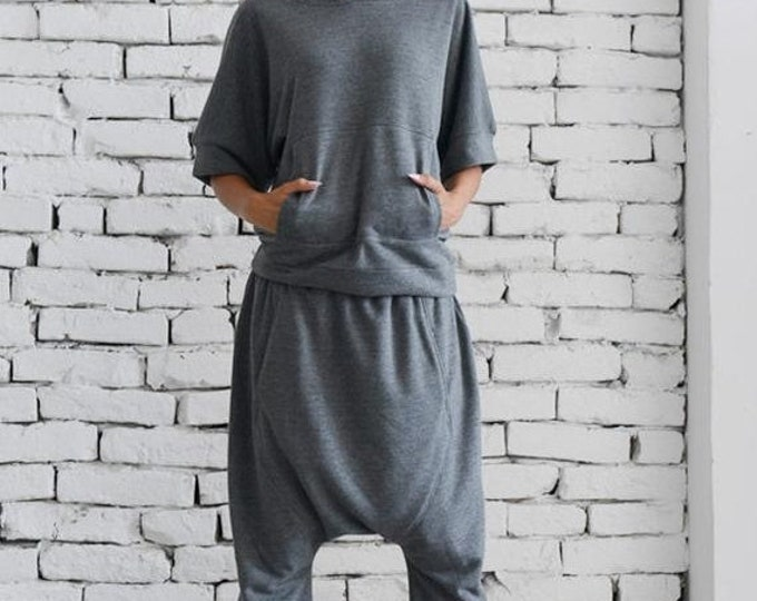 SALE Grey Loose Set/Hooded Casual Top/Grey Harem Pants/Extravagant Grey Tracksuit/Handmade Maxi Tracksuit/Clothing Set with Top and Pants