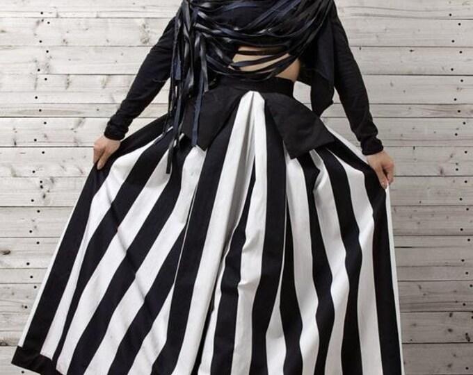 SALE Monochrome Maxi Skirt / Oversize Long Skirt / High Waisted A Line Skirt / Long Maxi Skirt / Extravagant Stripe Skirt / Long Handmade Sk