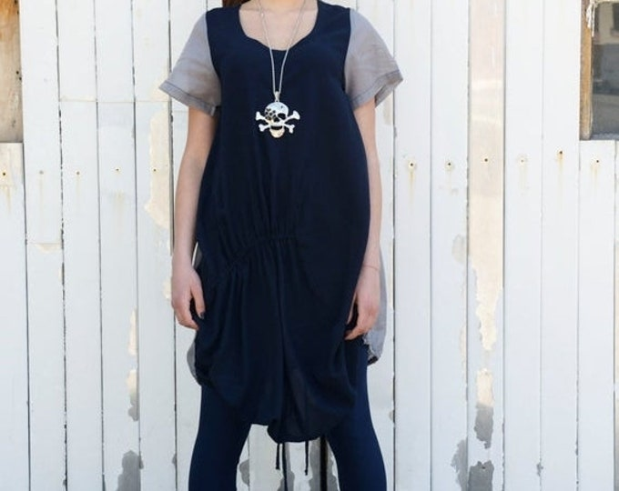 SALE Blue Shirt / Navy Blue and Grey Shirt / Summer Casual Tunic / Blue Asymmetric Top / Extravagant Loose Tunic / Short Navy Dress