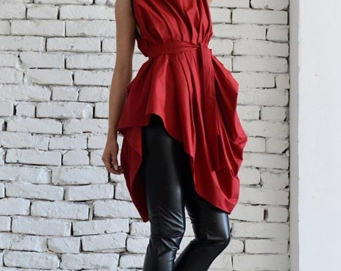 SALE Red Asymmetric Top/Sexy Red Tunic/Loose Belt Vest/Sleeveless Tunic Top/Long Elegant Top/Full Draping Top/Plus Size Casual Tunic Dress