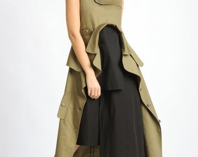 SALE NEW Extravagant Sleeveless Dress/Loose Asymmetric Long Tunic/Khaki and Black Back Zipper Dress/Oversize Long Tunic Top/Multi Color Dres