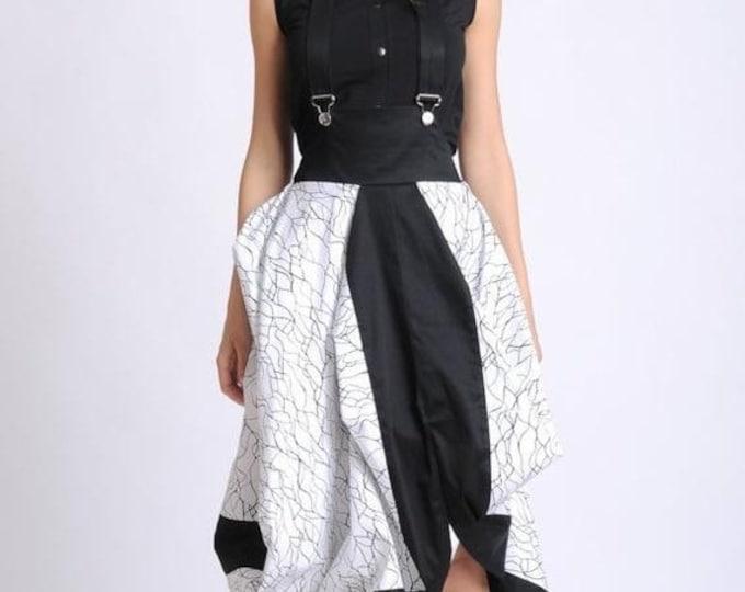 SALE Extravagant Black and White Skirt/Asymmetric Skirt with Suspenders/Elastic Waist Loose Skirt/Abstract Pattern Skirt/Jumpsuit Skirt