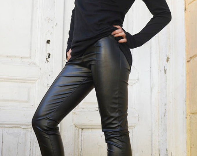 Black Extra Long Leggings / Slim Fit Black Pants / Sexy Leather Pants / Black Leather Leggings / Tight Leather Pants by METAMORPHOZA