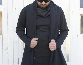 Asymmetric Black Vest / Long Top for Men / Zipper Loose Vest / Casual Urban Style Vest / Loose Men Top - PLUS SIZE AVAILABLE