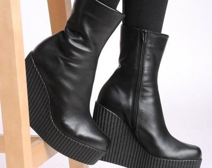 SALE NEW Genuine Leather Wedges/Extravagant Black Booties/Black Boots/Leather Black Boots/Sexy Wedges/Leather Shoes