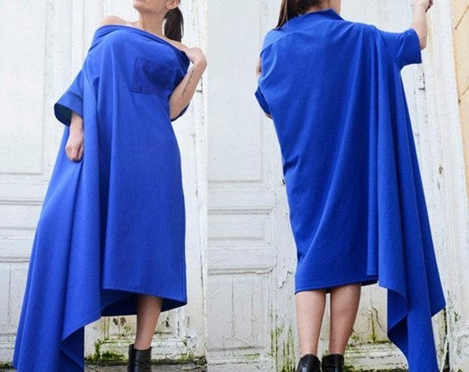 SALE Blue Maxi Dress with Pocket/Asymmetrical Loose Tunic Top/Oversize Blue Top/Sexy Fallen Sleeve Tunic Dress/Royal Blue Beautiful Dress
