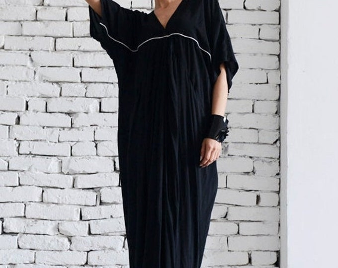 SALE Black Maxi Dress / Extravagant Long Dress / Short Sleeve Black Kaftan / Party Black Dress by MATAMORPHOZA