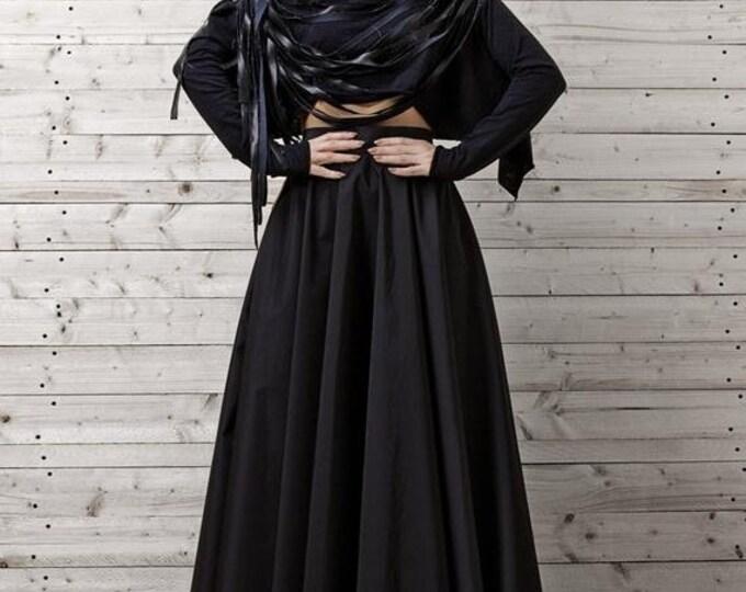 SALE Black Maxi Skirt / Long Black Skirt / Oversize Long Skirt / High Waisted Skirt / Elegant Evening Skirt / Loose Black Skirt by METAMORPH