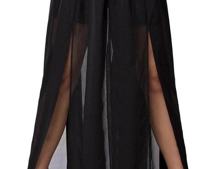 SALE Black Maxi Skirt / Sheer Long Skirt / Party Skirt with Shorts