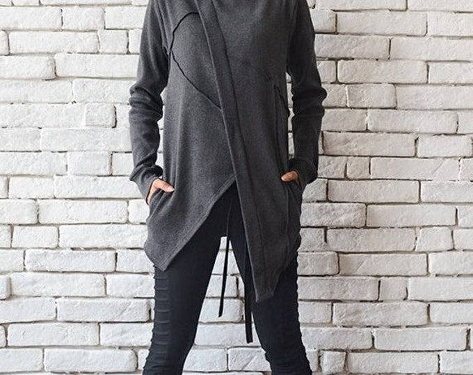 SALE Oversize Grey Jacket/Asymmetric Loose Blazer/Short Grey Coat/Long Sleeve Tunic/Casual Short Coat/Plus Size Top/Zipper Blazer/Grey Top