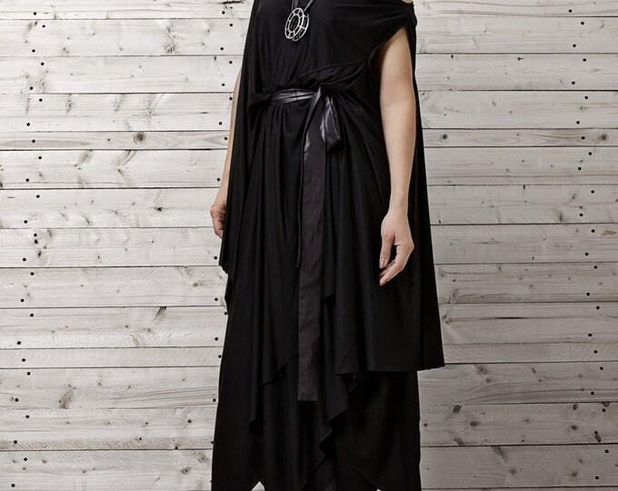 Long Black Dress / Black Kaftan Dress / Extravagant Long Dress / XXL,XXXL Maxi Dress / Plus Size Dress / Handmade Dress