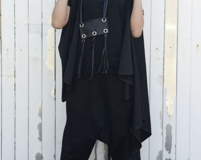 SALE Black Hooded Cardigan / Asymmetric Loose Vest / Maxi Tunic Top /Sleeveless Black Coat /Unisex Black Cardigan / Black Maxi Tunic / Loose
