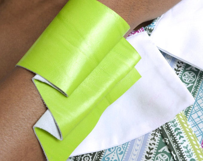 LIMITED EDITION Neon Green Bracelet/Extravagant Wrist Bracelet/Asymmetric Snap Button Bracelet/Genuine Leather Bracelet/Leather Accessory