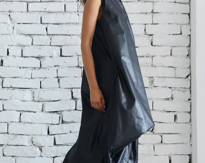 Maxi Black Dress / Oversize Asymmetric Dress / Extravagant Long Tunic / Black Kaftan / Plus Size Maxi Dress - XXL, XXXL, XXXXL Available