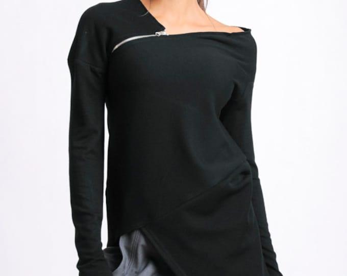 Black Asymmetric Tunic/Long Sleeve Zipper Top/Extravagant Casual Black Top/Long Extravagant Loose Blouse/Open Shoulder Black Tunic