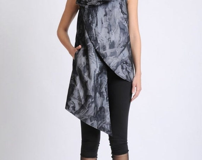 SALE NEW Extravagant Abstract Pattern Top/Oversize Collar Vest/Asymmetric Casual Tunic/Sleeveless Button Top/Avant Garde Pattern Long Tunic