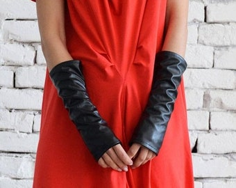 SALE Leather Gloves / Fingerless Gloves/ No finger gloves/ Long gloves/ Eco Leather Gloves by METAMORPHOZA