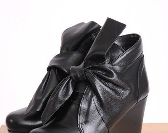 SALE Genuine Leather Wedges/Extravagant Black Booties/Black Ankle Boots/Leather Black Heels/Short Ankle Boots/Short Sexy Heels/Sexy Black Pu