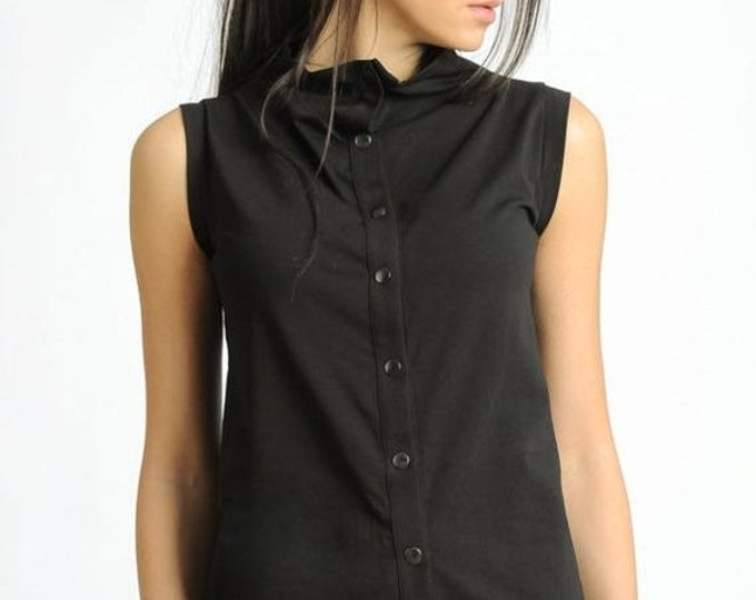 SALE NEW Black Sleeveless Top/Black Studded Blouse/Casual Everyday Black Top/Extravagant Shirt with Metal Studs at the Front/Loose Black Top