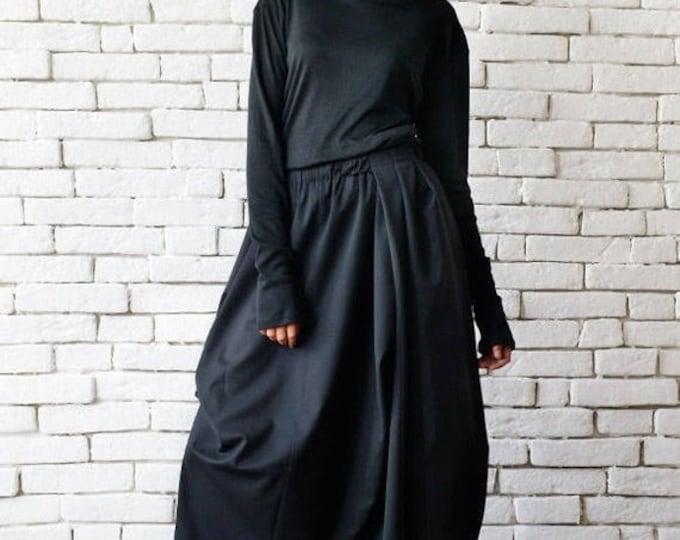 SALE Asymmetric Long Black Skirt/Extravagant Casual Skirt/Loose Black Skirt/Elastic Waist Skirt/Plus Size Skirt/Black Oversize Asymmetric Sk