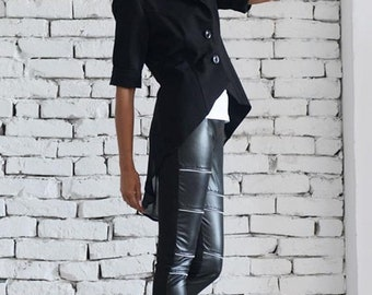 SALE Elegant Tight Fitting Black Coat / Asymmetrical Office Short Jacket / Elbow Length Sleeve Black Tunic by METAMORPHOZA