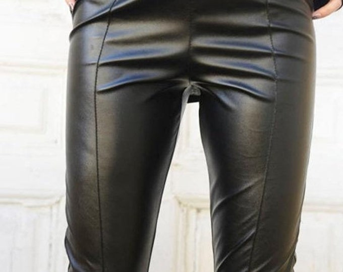 SALE Sexy Black Leather Tight Pants/Extravagant Leather Long Leggings/Slim Fit Pants/Black Shaping Pants/Long Cigarette Pants by METAMORPHOZ