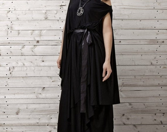 SALE Long Black Dress / Black Kaftan Dress / Extravagant Long Dress / XXL,XXXL Maxi Dress / Plus Size Dress / Handmade Dress