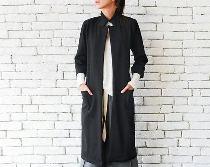 SALE Black Loose Coat/Oversize Long Jacket/Long Collar Top/Black Maxi Tunic/Plus Size Black Coat/Long Sleeve Cardigan/Comfortable Black Jack