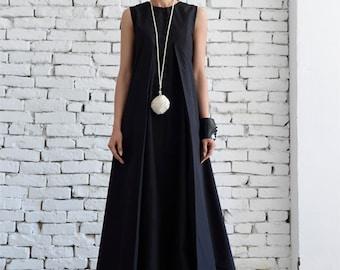 Nero Maxi Dress sciolto lungo vestito Plus Size nero Kaftan lungo abito  senza maniche Abito Maxi nero vestito Oversize nero Kaftan Maxi abito nero 690b23f6c51