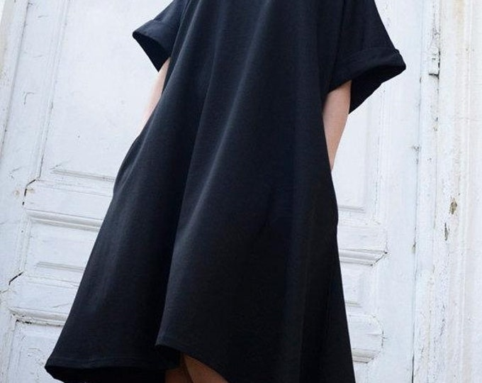 SALE Black Midi Loose Dress/Oversize Short Sleeve Tunic/Plus Size Black Maxi Dress/Spring Black Short Kaftan/Comfortable Sexy Casual Short D