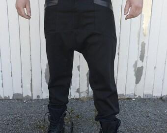 Men Black Pants / Drop Crotch Trousers / Leather Accent Pants / Plus Size Available - METAMORPHOZA